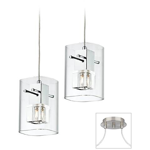 Square Glass Brushed Nickel Double Multi Light Pendant