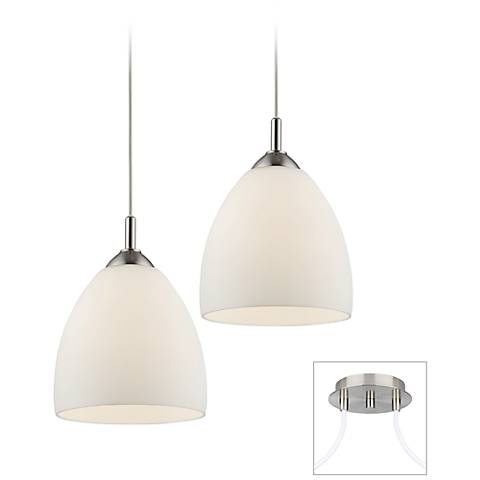Opal Glass Brushed Nickel Double Multi Light Pendant