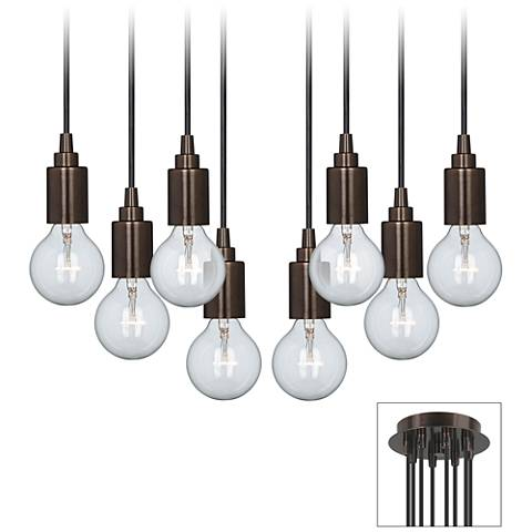Europa Clear Globe Bulb Bronze Multi Light Pendant