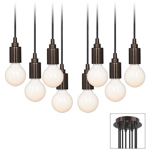 Europa White Globe Bulb Bronze Multi Light Pendant
