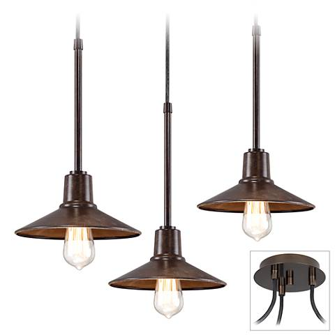 Edison Industrial Bronze 3-Light Swag Pendant
