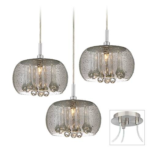Possini Euro Rainier Brushed Nickel 3-Light Swag Pendant
