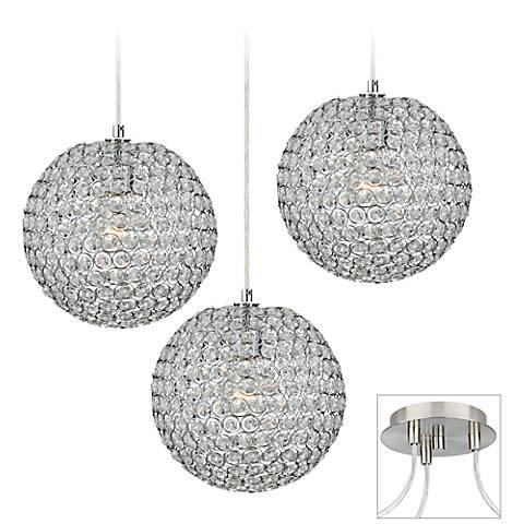Crystal Beaded Brushed Nickel Triple Multi Light Pendant