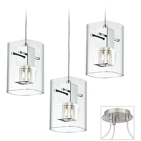 Square Glass Brushed Nickel Triple Multi Light Pendant