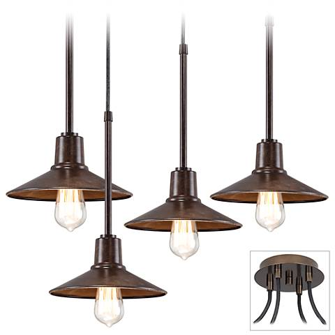 Edison Industrial Bronze 4-Light Swag Pendant