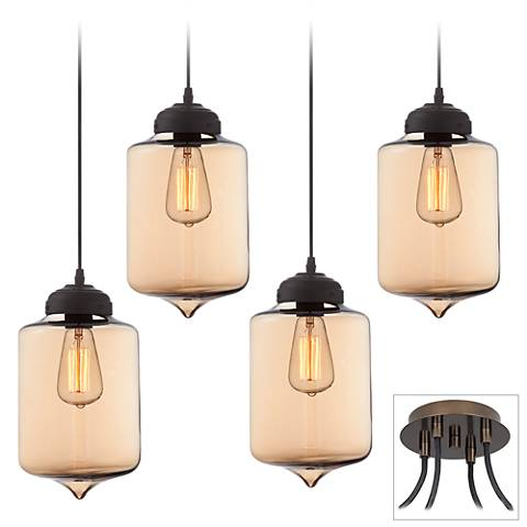 Possini Euro Calico Bronze 4-Light Swag Pendant