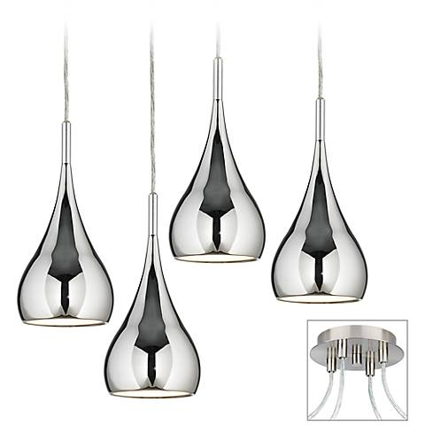 Raindrop Chrome Brushed Nickel 4-Light Multi Light Pendant
