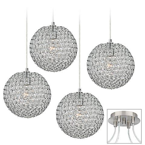 Crystal Beaded Brushed Nickel 4-Light Multi Light Pendant