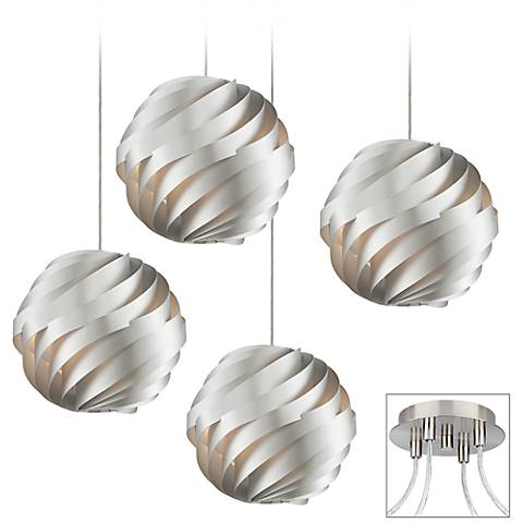 Silver Waves 4-Light Brushed Nickel Multi Light Pendant