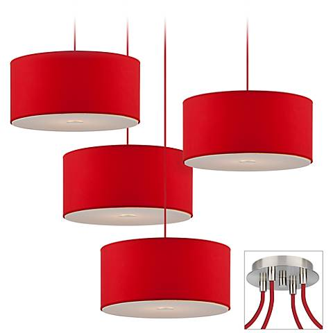 Possini Euro Red Drum Brushed Nickel 4-Light Light Pendant