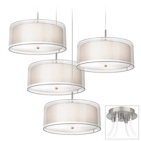 Possini Euro Double Drum Brushed Nickel 4-Light Swag Pendant
