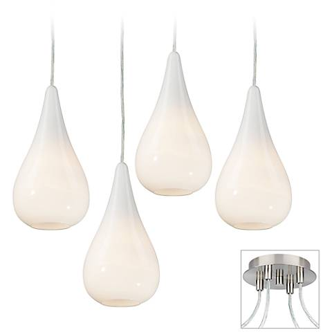 Ice Drop Brushed Nickel 4-Light Multi Light Pendant