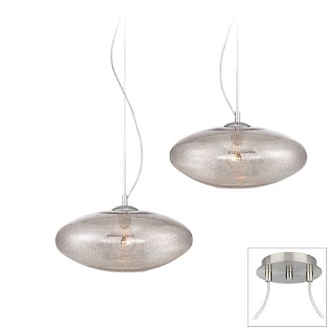 Possini Euro Mazie Brushed Steel 2-Light Swag Pendant