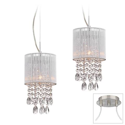 Possini Euro Silver Line Brushed Nickel 2-Light Swag Pendant