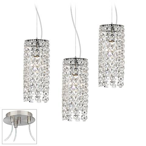 Crystal Cascade Brushed Nickel Triple Swag Chandelier
