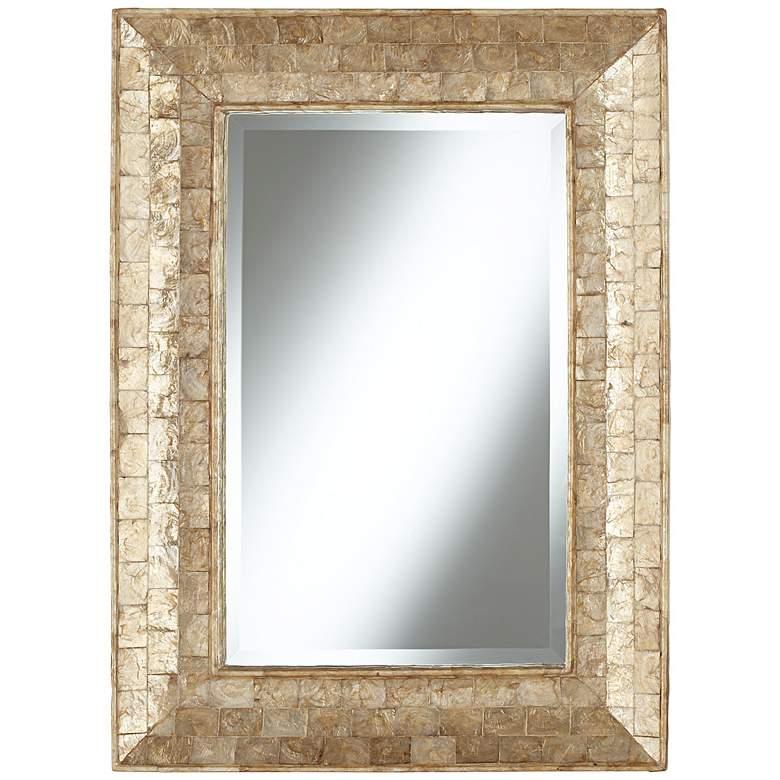 """Golden Capiz Shell 32 1/4"""" High Framed Wall Mirror"""