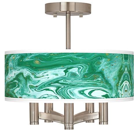 Malachite Ava 5-Light Nickel Ceiling Light