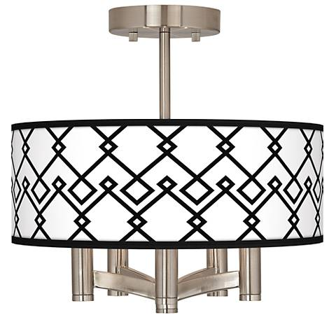 Diamond Chain Ava 5-Light Nickel Ceiling Light