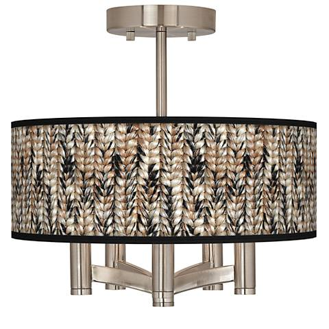 Braided Jute Ava 5-Light Nickel Ceiling Light