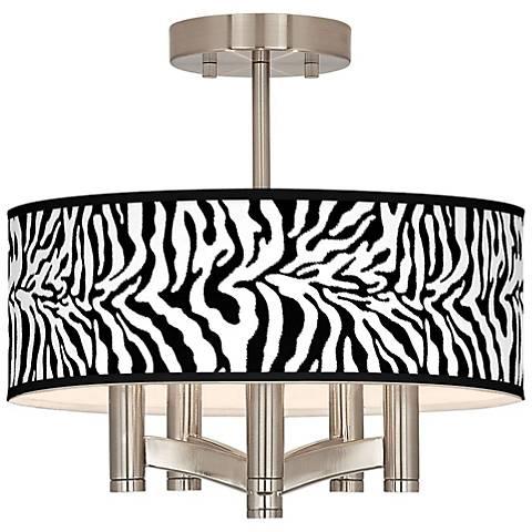 Safari Zebra Ava 5-Light Nickel Ceiling Light