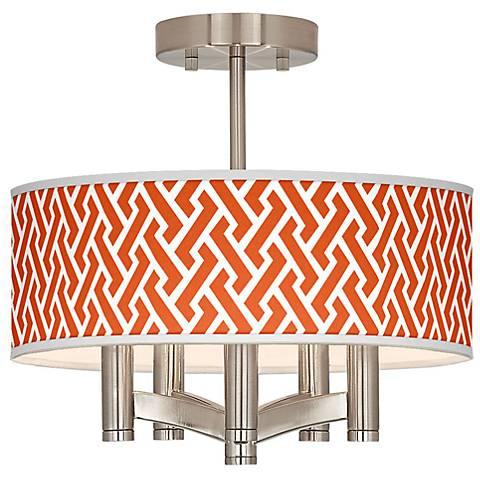 Red Brick Weave Ava 5-Light Nickel Ceiling Light