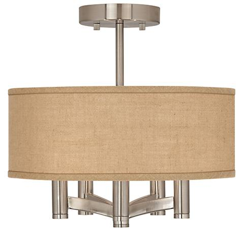 Woven Burlap Ava 5-Light Nickel Ceiling Light