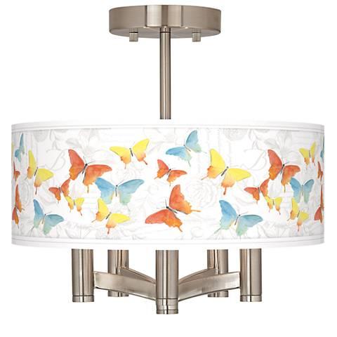 Pastel Butterflies Ava 5-Light Nickel Ceiling Light