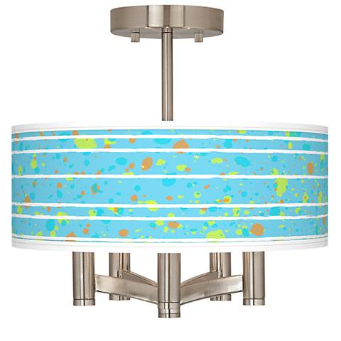 Paint Drips Ava 5-Light Nickel Ceiling Light