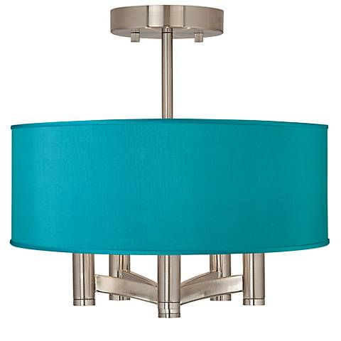 Teal Blue Faux Silk Ava 5-Light Nickel Ceiling Light