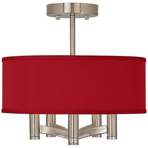 China Red Textured Silk Ava 5-Light Nickel Ceiling Light