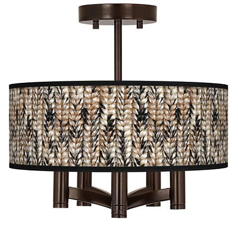 Braided Jute Ava 5-Light Bronze Ceiling Light