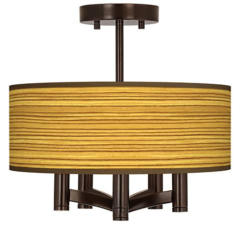 Tawny Zebrawood Ava 5-Light Bronze Ceiling Light