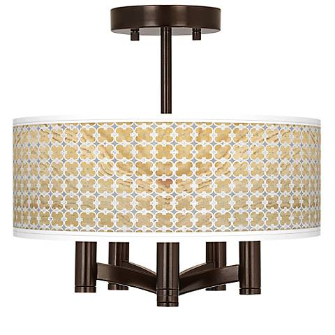 Marble Quatrefoil Ava 5-Light Bronze Ceiling Light