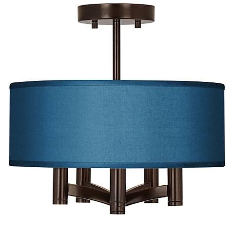 Blue Faux Silk Ava 5-Light Bronze Ceiling Light
