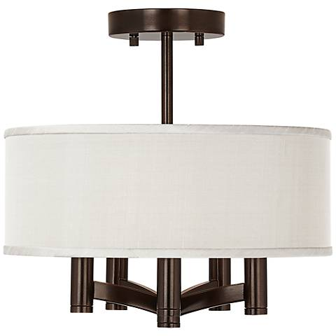 Cream Textured Silk Ava 5-Light Bronze Ceiling Light