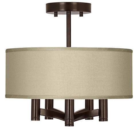 Sesame Faux Silk Ava 5-Light Bronze Ceiling Light