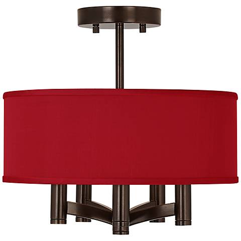 China Red Textured Silk Ava 5-Light Bronze Ceiling Light