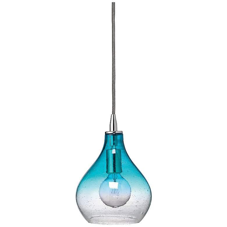 "Jamie Young Gradient Aqua Glass 7"" Wide Mini Pendant"