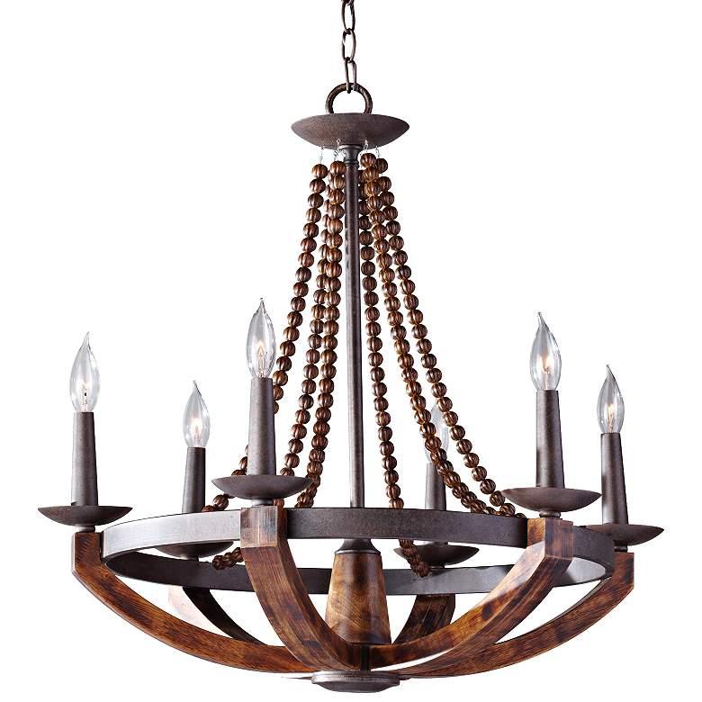 """Feiss Adan 26 1/2""""W Rustic Iron Beaded 6-Light Chandelier"""
