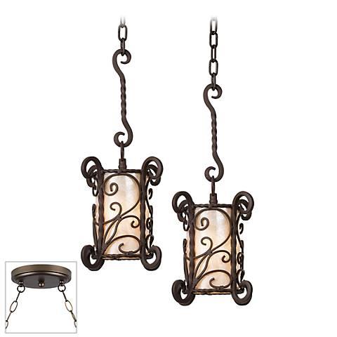 Natural Mica Bronze Double Multi Light Pendant