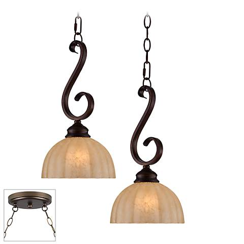 Ferro Scroll Bronze Double Multi Light Pendant
