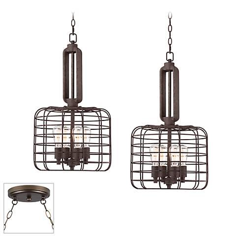 Industrial Style Cage Bronze Double Multi Light Pendant