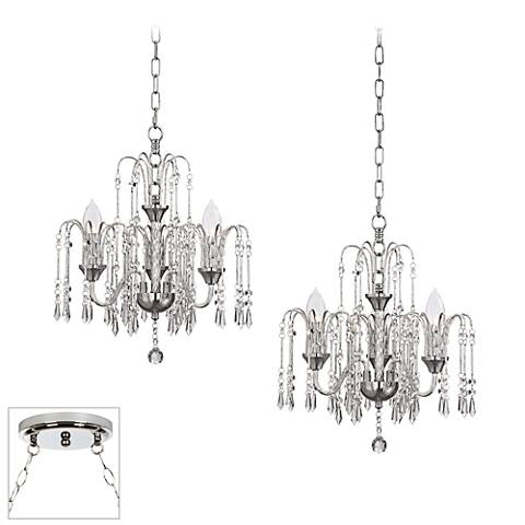 Crystal Rain Chrome 2-Light Swag Chandelier