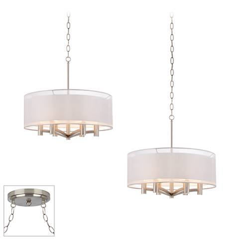 Possini Euro Caliari Brushed Steel 2-Light Swag Chandelier