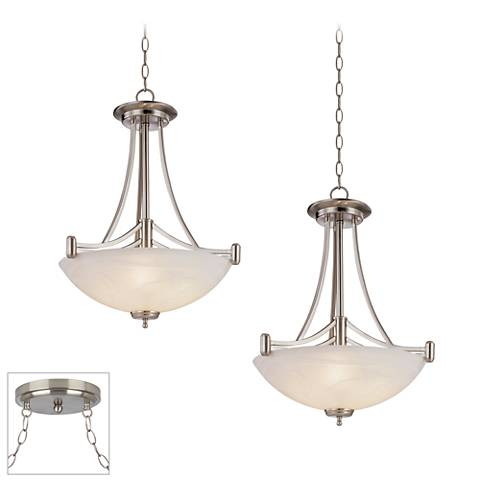 Kathy Ireland Deco Scale Brushed Steel 2-Light Swag Chandelier