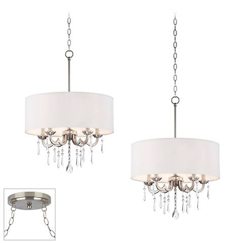 Possini Euro Georgiana Brushed Steel 2-Light Swag Chandelier