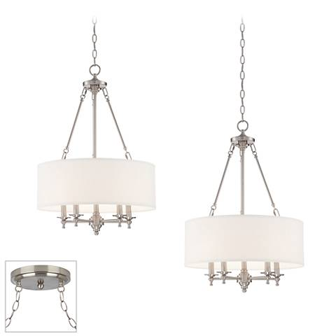 Possini Euro Kinney Brushed Steel 2-Light Swag Chandelier