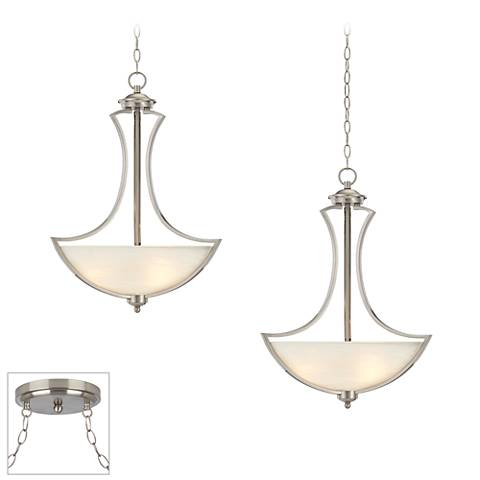 Possini Euro Milbury Brushed Steel 2-Light Swag Chandelier
