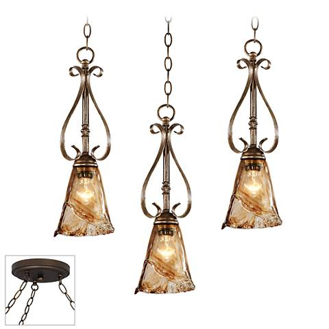 Amber Scroll Bronze 3-Light Swag Chandelier
