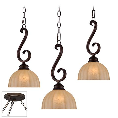 Ferro Scroll Bronze Triple Multi Light Pendant